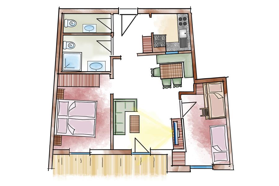 preise typen 4 appartementhotel sonneck in k nigsleiten. Black Bedroom Furniture Sets. Home Design Ideas